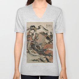 Hokusai, Aspara and the flute – musician manga, japan,hokusai,japanese,北斎,ミュージシャン Unisex V-Neck