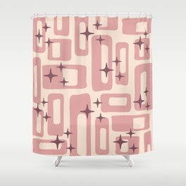 Retro Mid Century Modern Abstract Pattern 577 Dusty Rose Shower Curtain
