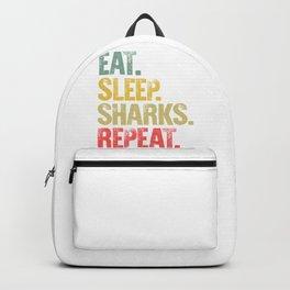 Eat Sleep Repeat Shirt Eat Sleep Sharks Repeat Funny Gift Backpack