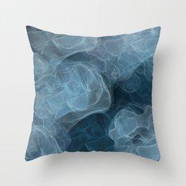 Blue Splotchy Abstract Art Throw Pillow