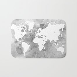 Design 49 Grayscale World Map Bath Mat