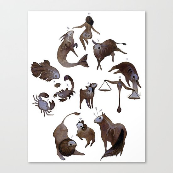 Skeleton zodiac Canvas Print