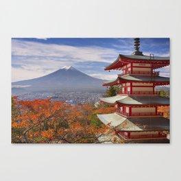 Chureito pagoda and Mount Fuji, Japan in autumn Canvas Print