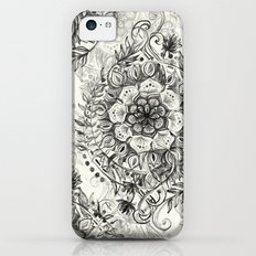 Messy Boho Floral in Charcoal and Cream  Slim Case iPhone 5c