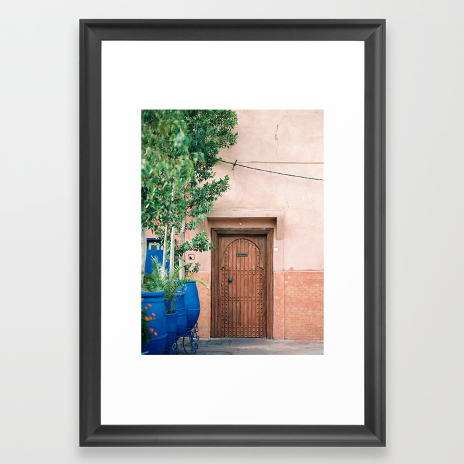 Marrakech travel photography wooden door on coral wall colorful wanderlust photo print framed art print