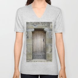 A door inside the City of Carcassonne Unisex V-Neck