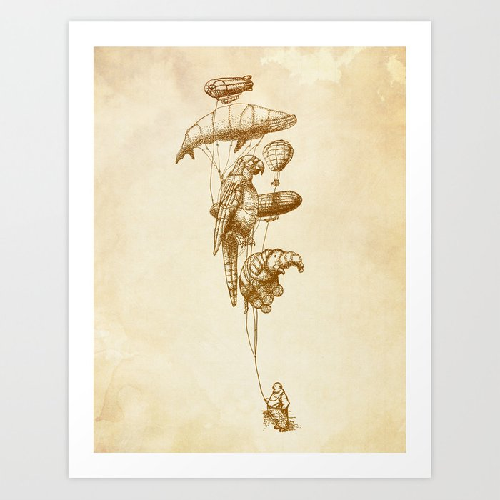 The Helium Menagerie (sepia) Art Print