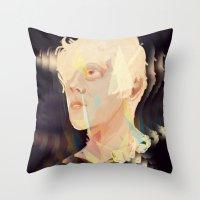 polygon Throw Pillows featuring Albino Polygon by MousMuse