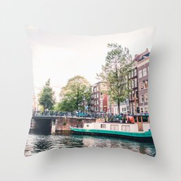 Amsterdam House Boats on Canal | Europe City Travel Urban Landscape Photography Throw Pillow