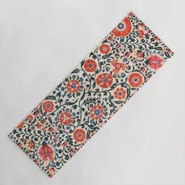 Shakhrisyabz Suzani  Uzbekistan Antique Floral Embroidery Print Yoga Mat
