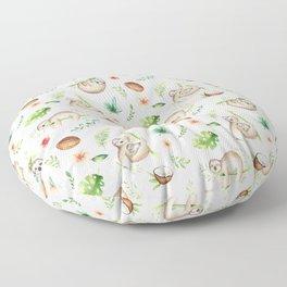 Tropical Sloths Pattern Floor Pillow