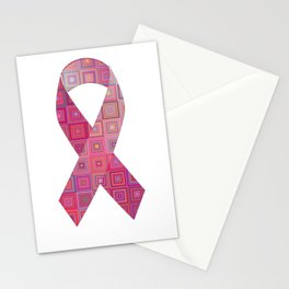 Pink Awareness Support Ribbon Design Stationery Cards