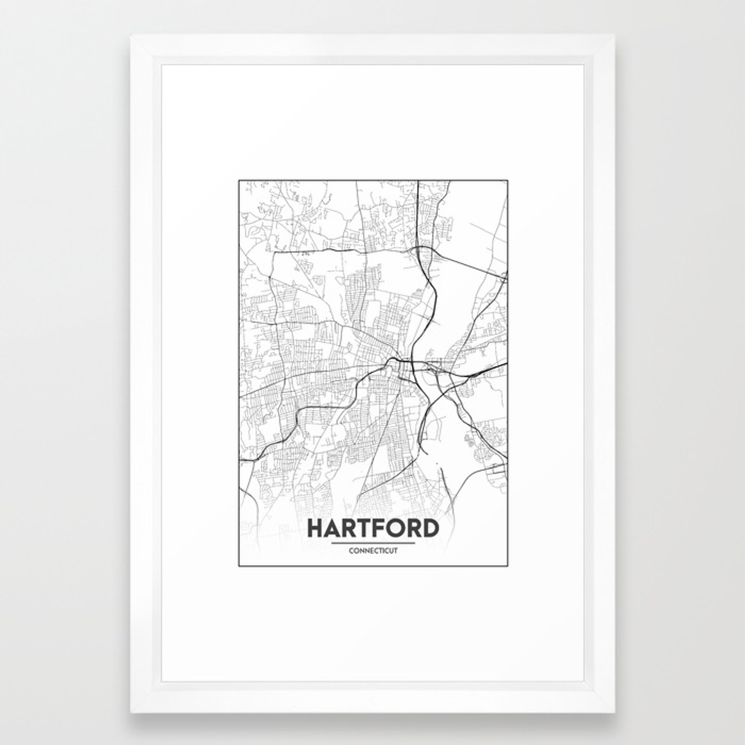 Minimal City Maps - Map Of Hartford, Connecticut, United States Framed Art  Print