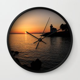 Lime Kiln Lighthouse Sunset Wall Clock
