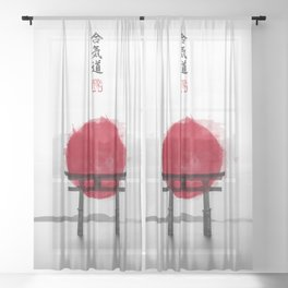 JAPANESE HINOMARU FLAG SIGNS Sheer Curtain