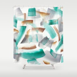 180719 Koh-I-Noor Watercolour Abstract 32  Watercolor Brush Strokes Shower Curtain