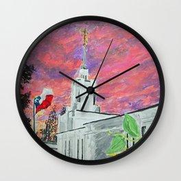 Santiago Chile LDS Temple Sunset Wall Clock