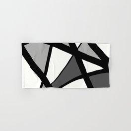 Geometric Line Abstract - Black Gray White Hand & Bath Towel