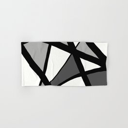 Geometric Line Abstract - Black Gray White Hand & Bath Towel