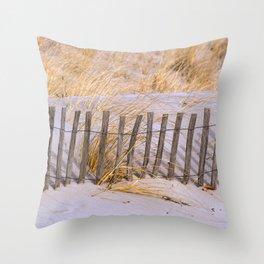 Scenic Beach Fence Throw Pillow
