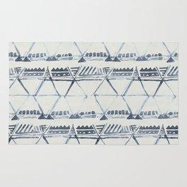 Simply Tribal Shibori in Indigo Blue on Lunar Gray Rug