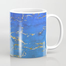 Sky Blue Marble With 24-Karat Gold Nugget Veins Coffee Mug