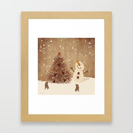 Primitive Country Christmas Tree Framed Art Print