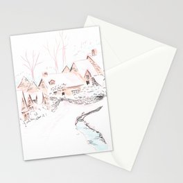 Snowy Village Stationery Cards