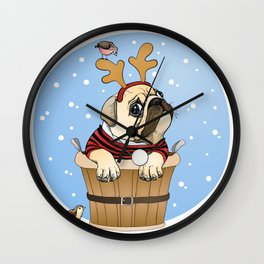English Bulldog With Deer's Horns Wall Clock