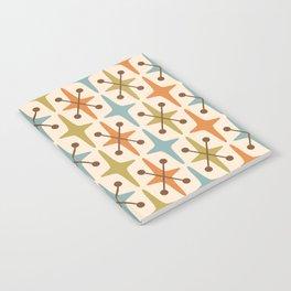 Mid Century Modern Abstract Star Pattern 441 Orange Brown Blue Olive Green Notebook