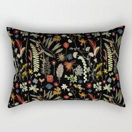 Dark Floral Sketchbook Rectangular Pillow
