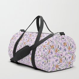 flowers and leaves on pink background . ( https://society6.com/simpledoodles/collection ) Duffle Bag