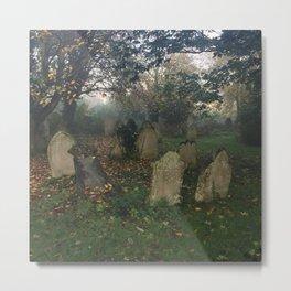 Misty Graveyard Metal Print