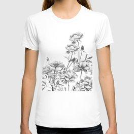 black and white peonies T-shirt
