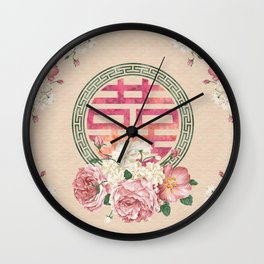 Watercolor Double Happiness Symbol with  Peony flowers Wall Clock