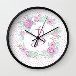 Monogram B - cute girls purple florals flower wreath, lilac florals, baby girl, baby blanket Wall Clock