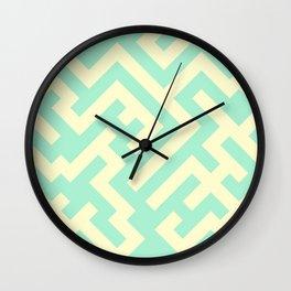 Cream Yellow and Magic Mint Green Diagonal Labyrinth Wall Clock
