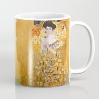 gustav klimt Mugs featuring Gustav Klimt - The Woman in Gold by Elegant Chaos Gallery