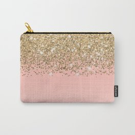 Girly Chic Gold Confetti Pink Gradient Ombre Carry-All Pouch