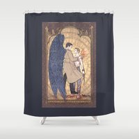 dean winchester Shower Curtains featuring Angelic Intervention (Dean Winchester is Saved) by KARADIN