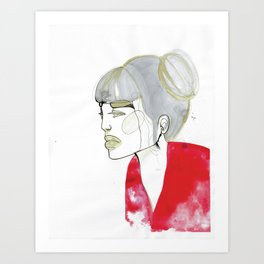 Iris - red sweater, grey hair Art Print