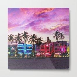South Beach, Miami Lummas Park Twilight Pink Sunset landscape painting by Jeanpaul Ferro Metal Print