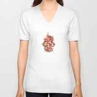 sprinkles V-neck T-shirts featuring Sprinkles Cupcake by Lines Across