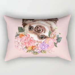 Baby Sloth with Flowers Crown in Pink Rectangular Pillow