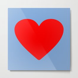Red heart in blue Metal Print