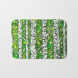 Green Birch Forest Bath Mat