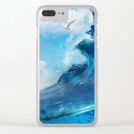 Beach Waves Ocean Blue Clouds Sun Sunset Clear iPhone Case