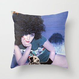 The girl with a bird's nest in her hair Throw Pillow