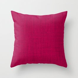 Natural Woven Hot Pink Burlap Sack Cloth Throw Pillow