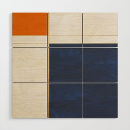 Orange, Blue And White With Golden Lines Abstract Painting Wood Wall Art